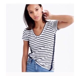 j.crew striped  pom pom tee